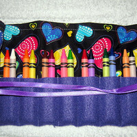 Hearts   Fabric Twenty Four Crayon Roll Up Crayons Included