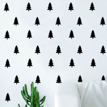 Set of 50 Trees Pattern Decal Sticker Wall Vinyl Art Home Decor Teen Tree Nature Adventure Travel Explore Outdoors Hike