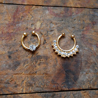 Silver Rhinestone Clip On Septum Ring Set, Faux Nose Piercing