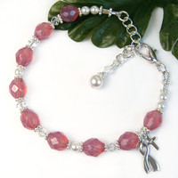 Breast Cancer Awareness Bracelet Chaplet Sterling Silver Ribbon Cross