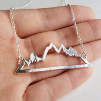 Silver Mountain Range Necklace for Outdoor Lovers, Skiers and Hikers (RV3)