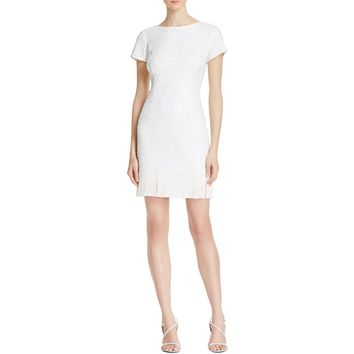 Aidan Mattox Womens Beaded Cap Sleeves Cocktail Dress
