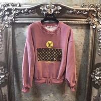 ONETOW Louis Vuitton' Women Casual Fashion Embroidery Sequin Letter Pattern Print Long Sleeve Velvet Sweater Tops