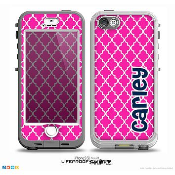 The Navy Blue Name Script Pink Morocan Pattern Skin for the iPhone 5-5s nüüd LifeProof Case