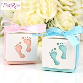 FENGRISE 10pcs Baby Shower Candy Boxes Birthday Party Wedding Favors And Gifts Boy Pink Paper Decoration Event Party Supplies