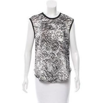 Helmut Lang Abstract Print Sleeveless High Low Tank - Size Medium (10)