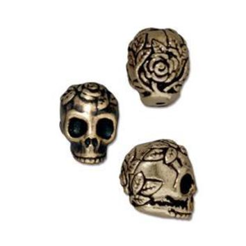 94-5685-27 - TierraCast Antique Brass Pewter Rose Skull Bead, 10mm | Pkg 2