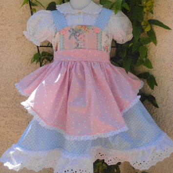 Easter Dress,Girls Pinafore Dress, Size 5 Girls Pinafore Dress, Girls Summer Dress, Pinafore Apron, Photo Shoot, Party Dress
