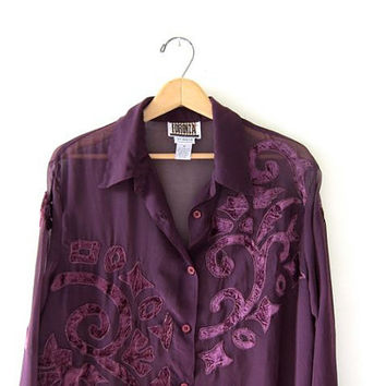 90s oversized sheer blouse. purple velvet tunic shirt. button down Forenza top.