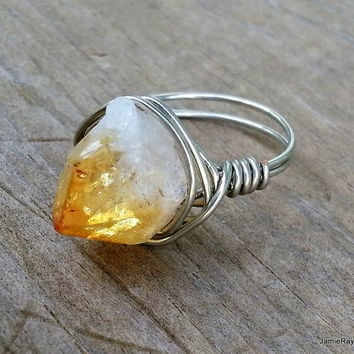 Raw Citrine Ring, Rough Crystal Gemstone Silver Wire Wrapped Ring, Boho Hippie Ring, Amber Yellow Chunky Statement Ring, Wrap Crystal Ring