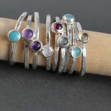 Midi Rings with Gemstones and Recycled Sterling Silver, Knuckle Rings, Boho Jewelry, Bohemian Style, Midi Stackers, Little Girl Rings