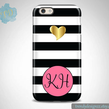 Monogram iPhone 6 case, Personalized iPhone 6s Plus case iPhone 5s case 6 plus Samsung case S6 Edge S5 S4, Black Stripes Gold Heart (48)