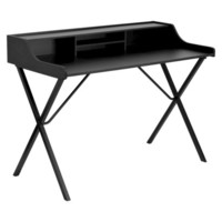 Computer Desk with Top Shelf Writing Desk - Black