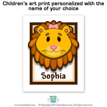 Jungle Theme Lion Art Print for Children's room
