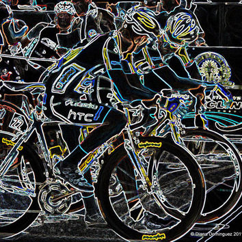 Neon U.S Cycling Bikes  8x10 Abstract Photography Print
