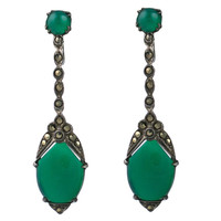Deco Marcasite and Green Onyx Earrings at 1stdibs