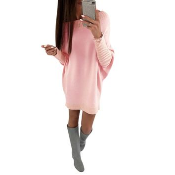 Sexy Winter Dress Women Knitted Loose Collar Fashion Oversized Jumper Winter Dress Autumn New Casual Pullover Pink Black Blue