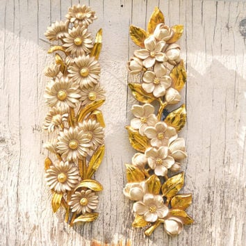Vintage Gold and White Floral Wall Plaque by Homco 1974 Floral Motif, collectible, Pair of long wall decor