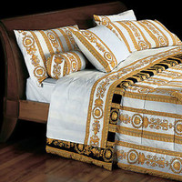 VERSACE Medusa Twin Size White Bed Duvet Cover & Sheet Set 4 pc - Full Pattern