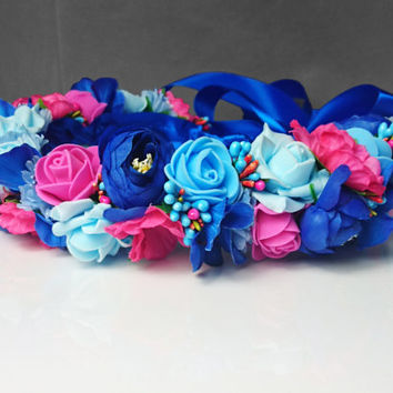 Pink fuchsia blue flower CROWN / WREATH artificial flowers wedding royal blue satin ribbon Flower girl Bride vibrant rose ranunculus orchid