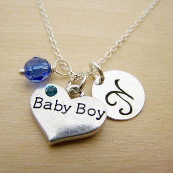 Baby Boy Necklace -  Swarovski Birthstone Initial Personalized Sterling Silver Necklace / Gift for Her - New Baby Charm