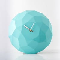 Wall clock Diamond sphere Glossy Turquoise Light , diamond 3d pattern cut, shiny