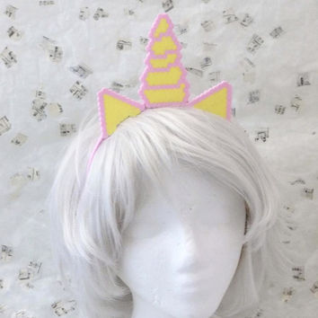 Unicorn Ears and Horn 8 Bit Pixel Art Cosplay Costume by ThreeLace