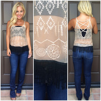 Freya Embroidered And Sheer Fringe Tank - TAUPE
