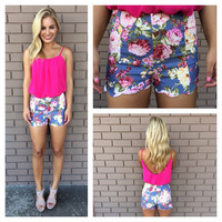 Floral Denim Scallop Shorts