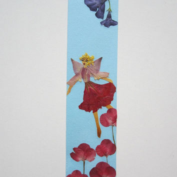 "Handmade unique bookmark ""My view of the world"" - Decorated with dried pressed flowers and herbs - Original art collage."