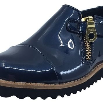 Luccini Girl's Zip-Up Fashion Boots (Cosmic Blue Patent)