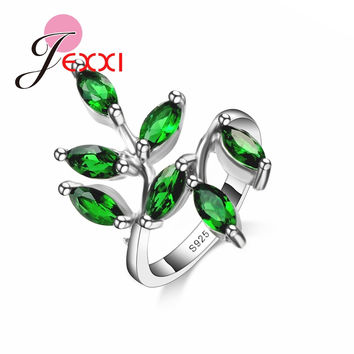 JEXXI Mosaic Small Cute Fresh Leaves Rings 925 Sterling Silver Rings Supply Of Natural Imitated Gen stone Jewelry For Women