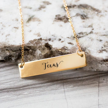Texas Gold / Silver Bar Necklace