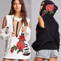 Sexy Embroidery Hooded Long-Sleeved Sweater