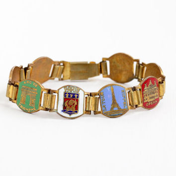 Vintage Enamel Brass French Panel Bracelet - 1940s Historical Attractions Paris France Souvenir Tourist Eiffel Tower Colorful Charm Jewelry