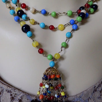 Spectacular 1930s Harlequin Glass Flapper Necklace with Tassel Long Glass Bead Necklace OOAK