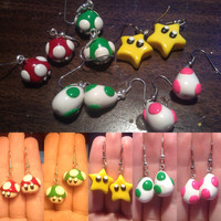 SPRING CLEARANCE! Misc. Mario Themed Earrings - Yoshi/Birdo Eggs, 1-Up and Super Mushroom and Star Man