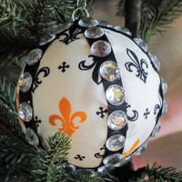 Fleur de Lis Ornament, Handmade Fabric Ball Christmas Ornament in Gift Box, Tree Decoration, New Orleans Saints Kappa Gamma Louisville Decor