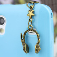 3.5mm Retro Bronze Headset  Dust-proof Plug  for iphone 4s,iPhone 4,iPhone 3gs,iPod Touch 4,HTC,Nokai,Samsung,Sony