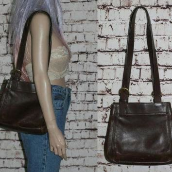 ONETOW Coach Handbag Brown Leather Purse Double Strap Shoulder Bag Bronze Gold 90s 80s Grunge