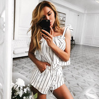 Sexy Spaghetti Strap Stripes Striped Romper