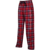 Mississippi Rebels Ladies Ultimate Block Letter Flannel Pants - Red