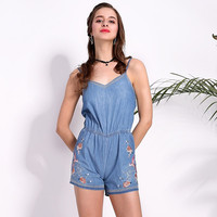Womens Jumpsuits Rompers Blue Backless Overalls