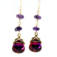 Swarovski Crystal Volcano Earrings, Briolette Earrings, Volcano Flat Briolettes, Amethyst Nuggets, Gold Filled