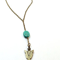 Arrowhead and Turquoise Gypsy Necklace, Gypsy Jewelry, Y Necklace, Arrowhead Necklace, Turquoise Necklace