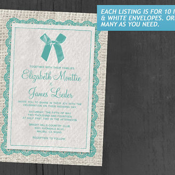 Aqua Country Burlap Wedding Invitations | Invites | Invitation Cards