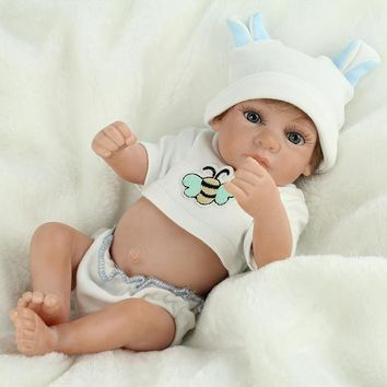 NPKDOLL 28cm Mini Doll Reborn Realistic Boy Baby Doll Silicone Vinly dolls Girls Gift Toys