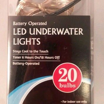Underwater LED String Fairy Light Set 20 Lights Battery with Timer White New