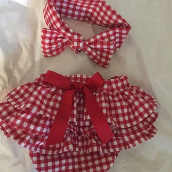 Gingham Diaper Cover Diaper Cover Bloomers Matching Hair Retor rockabilly StyleBaby Shower Gift Infant Girl