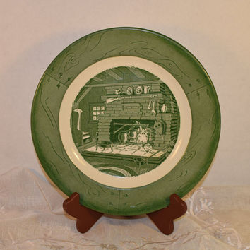 Royal China Colonial Homestead Dinner Plate Vintage 1950s Americana Glazed Plate Cabin Fireplace Scene Green & White Dinnerware Replacement